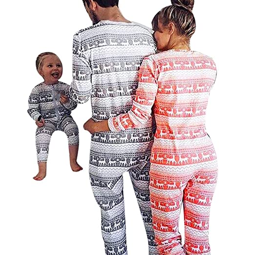 Kehen Matching Christmas Pajamas for Family Reindeer and Striped Print  Holiday Pjs Long Sleeve Romper Zipper 4405925f6