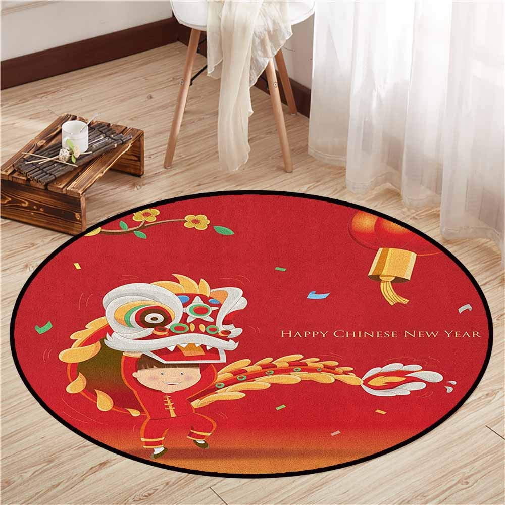Bedroom Rugs,Chinese New Year,Little Boy Performing Lion Dance with The Costume Flowering Branch Lantern,Children Bedroom Rugs,3'7'' Multicolor by AndyTours