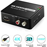 HDMI Audio Extractor, Aerctor HDMI to HDMI + Optical Toslink(SPDIF) + 2RCA(L/R) Stereo Analog Outputs Video Audio Converter Support 4Kx2K,Black