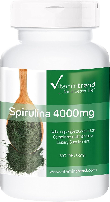 Espirulina 500mg – 4000mg por dosis diaria – Vegana – 100% Alga Spirulina platensis– 500 comprimidos– Rica en vitaminas – Pura: Amazon.es: Salud y cuidado personal