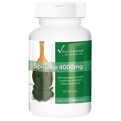 Espirulina 500mg – 4000mg de dosis diaria – vegana – 100% Spirulina sin estearato de