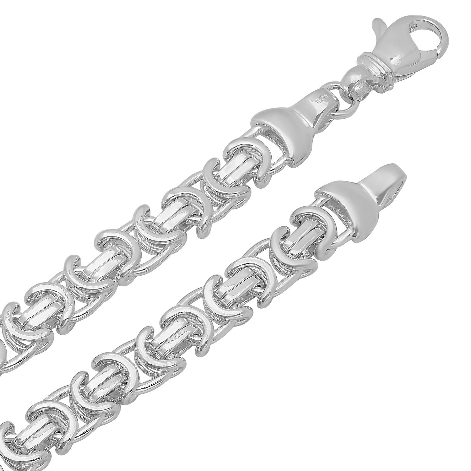 8mm 925 Sterling Silver Nickel-Free Byzantine Link Chain, 18'' - Made in Italy + Cleaning Cloth by The Bling Factory (Image #2)