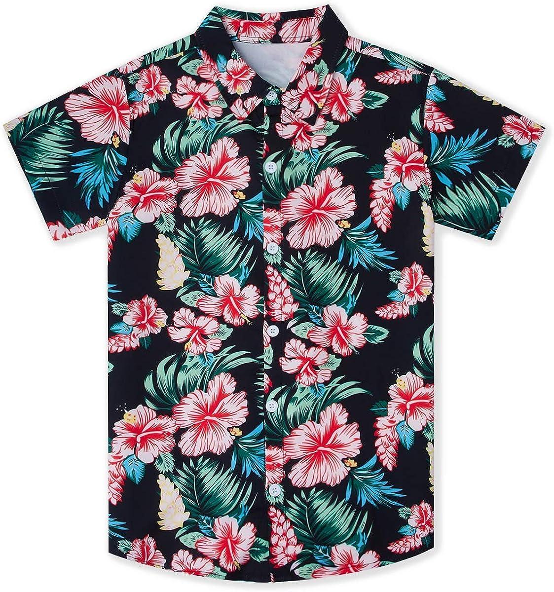 UNICOMIDEA Little & Big Boys 3D Print Hawaiian Shirt Aloha Button Down Dress Shirt for 2-14 Years Old