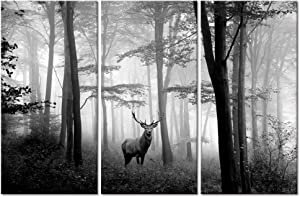 """Welmeco 3 Pieces Animals Wall Decor Black and White Deer in Autumn Forest Canvas Prints Artwork for Home Office Nature Scenery Living Room Bedroom Decoration (L-48""""XH-32"""")"""