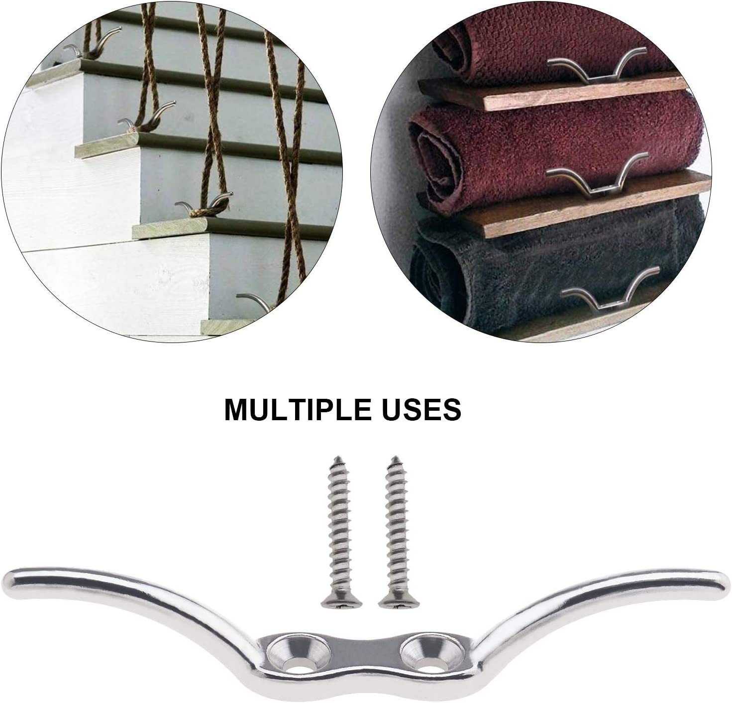 4 Pcs 6 Inches Boat Rope Cleats 316 Stainless Steel for Boats Accessories Boat Securing Tie Down Included Mounting 8 Screws