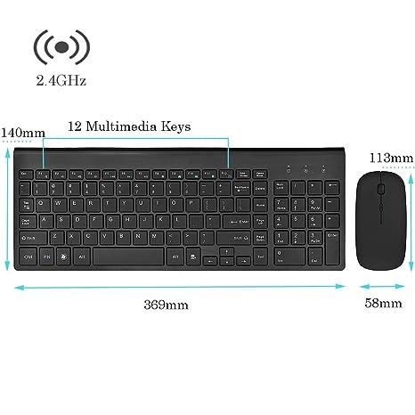 Inalámbrica de 2,4 GHz Packs de teclado y ratón, URCO estéticamente agradable 102 teclas de tamaño completo bajo nivel de ruido del teclado portátil ...