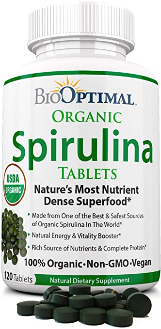 BioOptimal Spirulina Tablets, USDA Organic Non-GMO 4 Certifications Premium Quality, No Additives Capsules or Fillers, Easy-to-Swallow, 120 Count