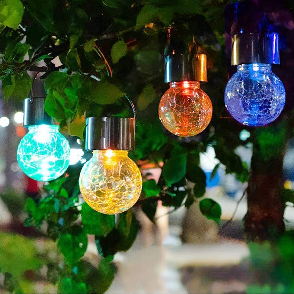 JEERUI Hanging Solar Ball Lights, 4 pack Auto Multi-Color Changing Cracked Glass Lights, Waterproof Hanging Outdoor Decorative Globe Lights for Garden, Patio, Yard, Lawn , Tree or Holiday Decoration