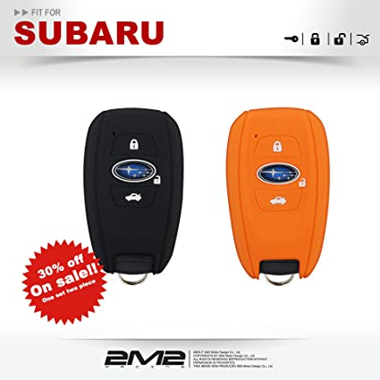 2M2 2 PIECES SB03KO Silicon Keyfob Holder Case Chain Cover fit For SUBARU Legacy Outback Forester XV