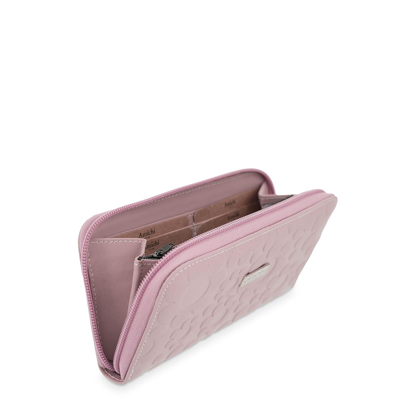 Cartera Billetera con Cremallera en Piel Amichi - grabado Flores Color Rosa Maquillaje: Amazon.es: Equipaje