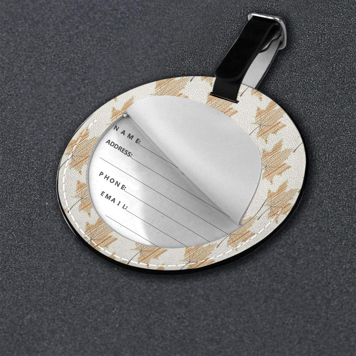Round Luggage Tags Autumn Yellow Maple Leaf PU Leather Suitcase Labels Bag