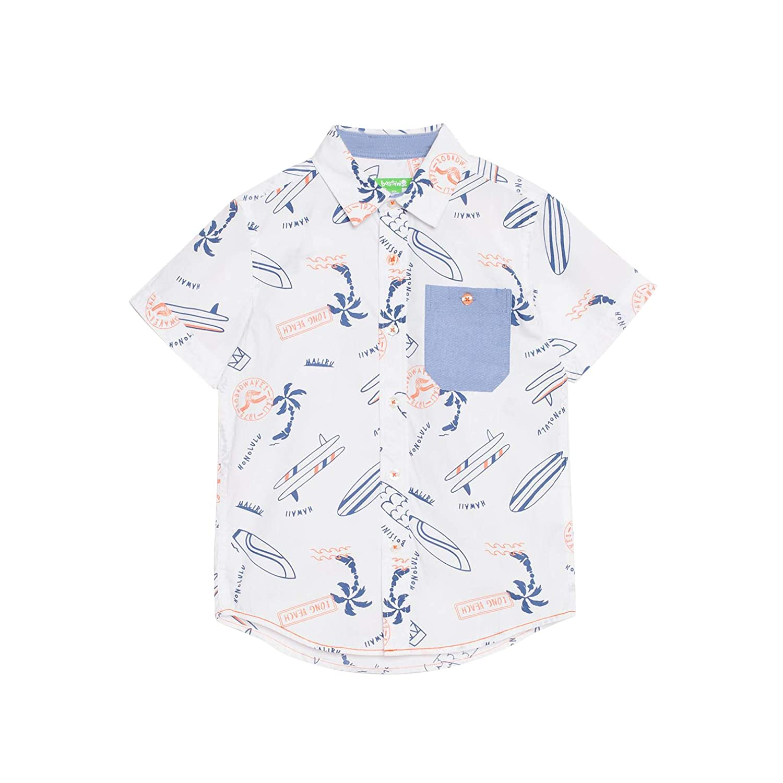 6X,White bossini Delight Boys Short Sleeve Beach Print Shirt US Size 4t