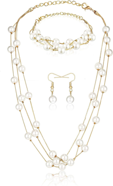 Hicarer Conjunto de Joya de Perla de Imitación Pulsera Pendientes Collar Regalo de San Valentín para Mujeres Niñas