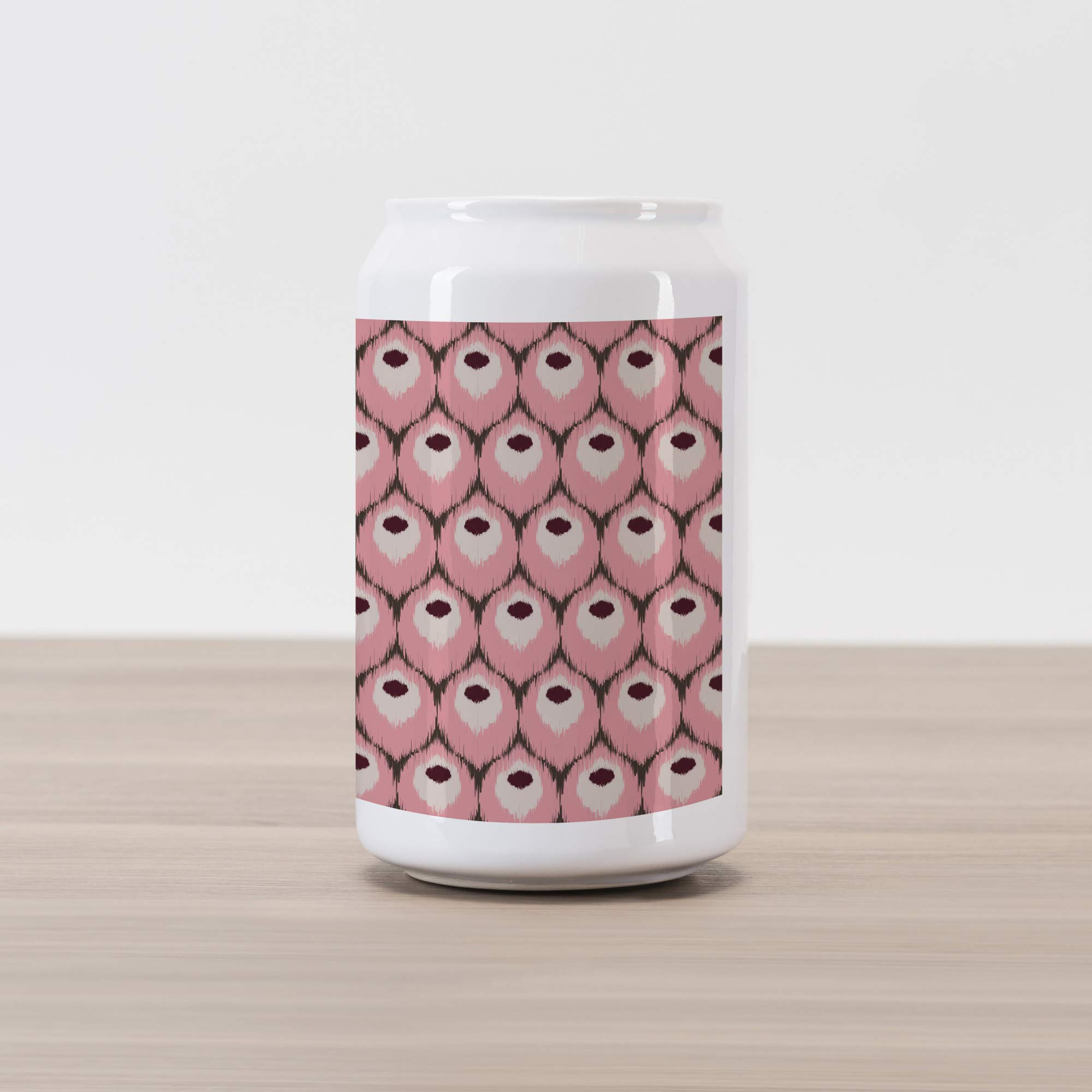 Ambesonne Ikat Cola Can Shape Piggy Bank, Repeating Motifs from Indonesia Culture Classic South East Asia Design, Ceramic Cola Shaped Coin Box Money Bank for Cash Saving, Pale Pink Purple and Brown