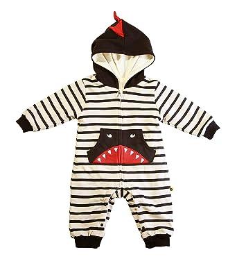 c3b3588ab GLMTOU Baby Winter Snowsuits Hoodie Fleece Jumpsuit Cartoon Dinosaur Infant  Boys and Girls One Piece Outerwear