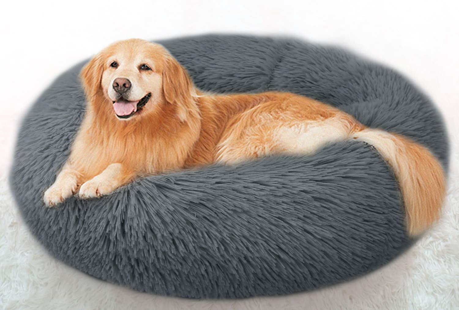 Panda Grip Cat Beds for Indoor Cats, Round Donut Cuddler Dog Bed for Small Dog and Cat Fluffy Pet Sofa Cushion for Snuggle Puppy Washable Self-Warming Soft Plush Marshmallow Dog Cat Bed 80cm Dark Grey