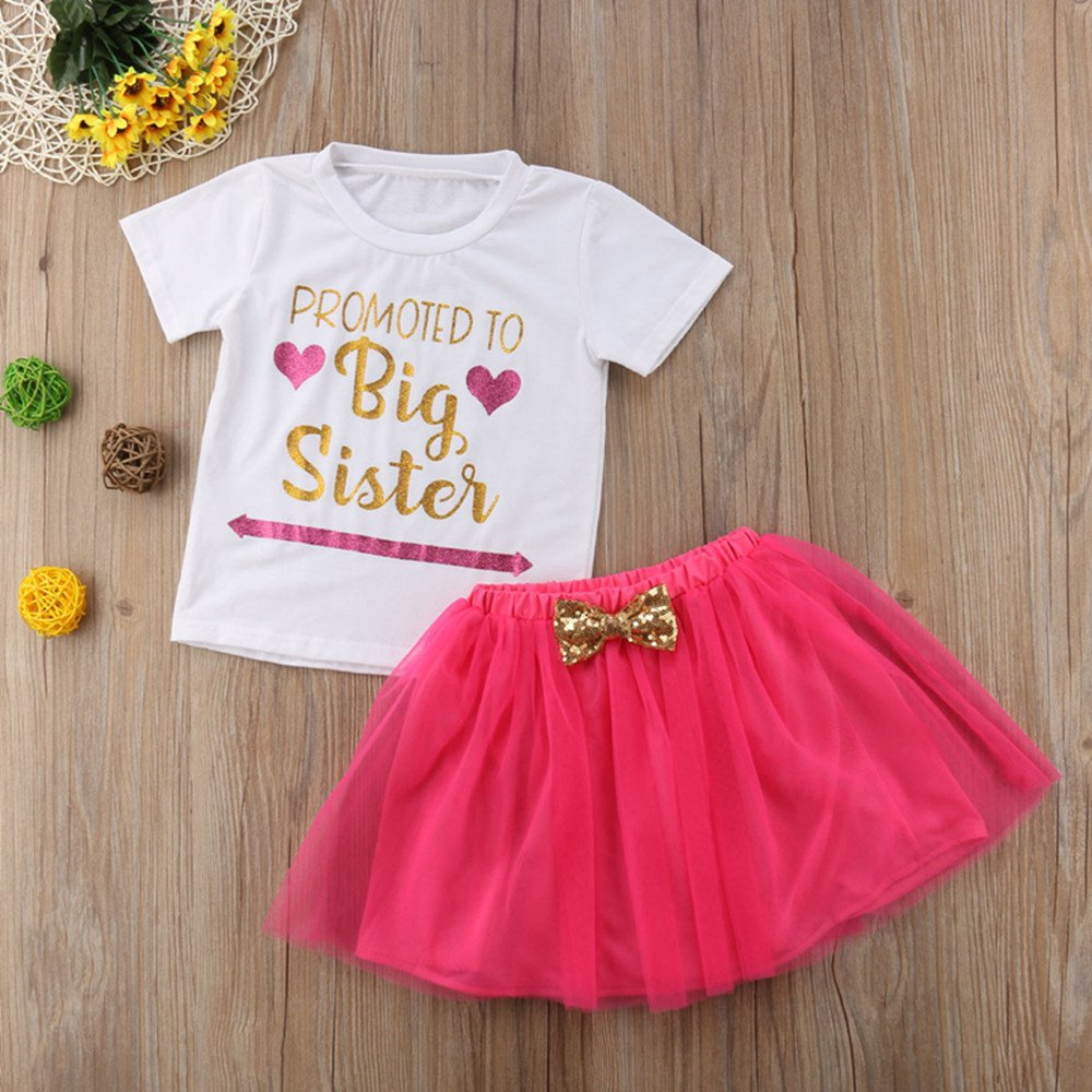 b0e898b4b4 Amazon.com: Toddler Kids Baby Girls Promoted to Big Sister T Shirt Tops+Tulle  Tutu Bowknot Skirt Outfits Set Summer Clothing: Clothing