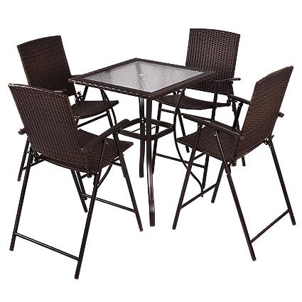 Amazon.com: GHP 4-pc Taburete de bar plegable sillas & mesa ...