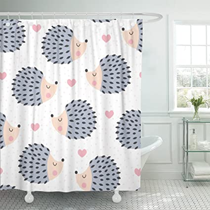 Amazon Emvency Shower Curtain Colorful Adorable Cute Hedgehog