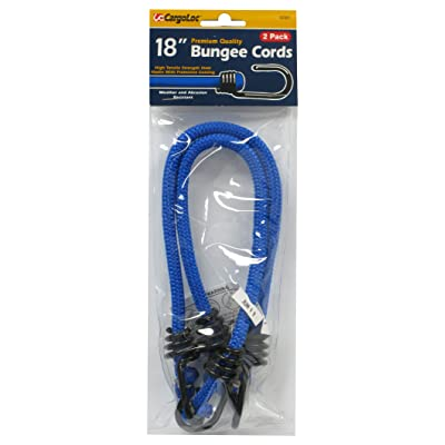 CargoLoc 62321 Bungee Cords with High Tensile Steel Hooks, 18-Inch, Blue, 2-Piece [5Bkhe1402163]