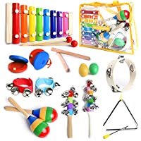 SMART WALLABY Toddler Musical Instruments Set with Xylophone. 15 Pcs. Kids Wooden Toy Percussion Set with a Free…