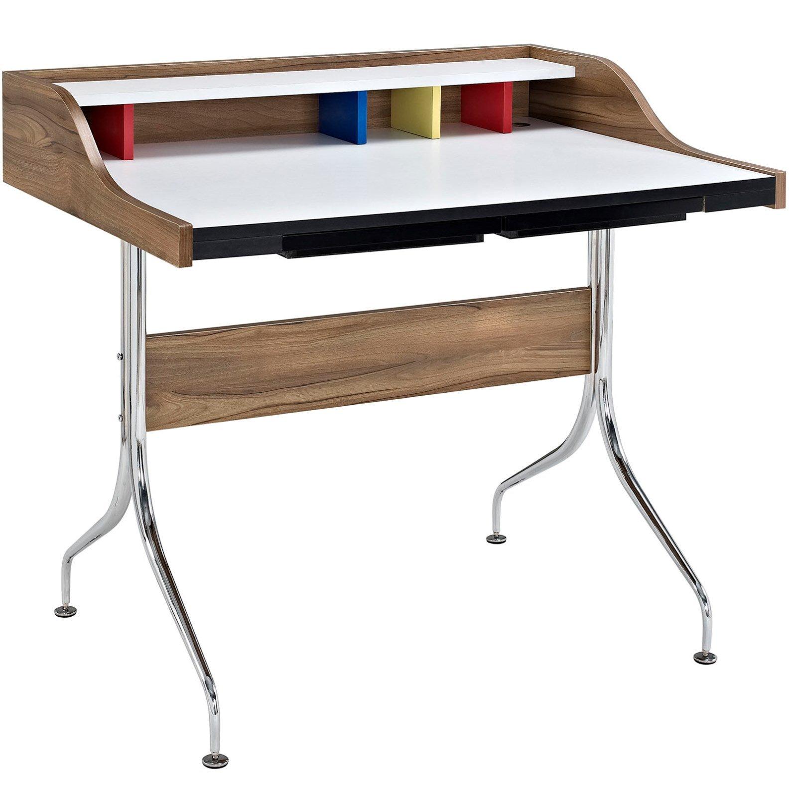 Modern Contemporary Urban Design Work Home Office Desk, Brown, Wood