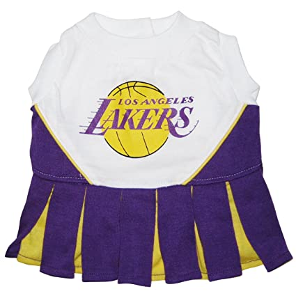 97afa567ff2 Amazon.com   Pets First NBA Lakers Dog Cheerleader Dress