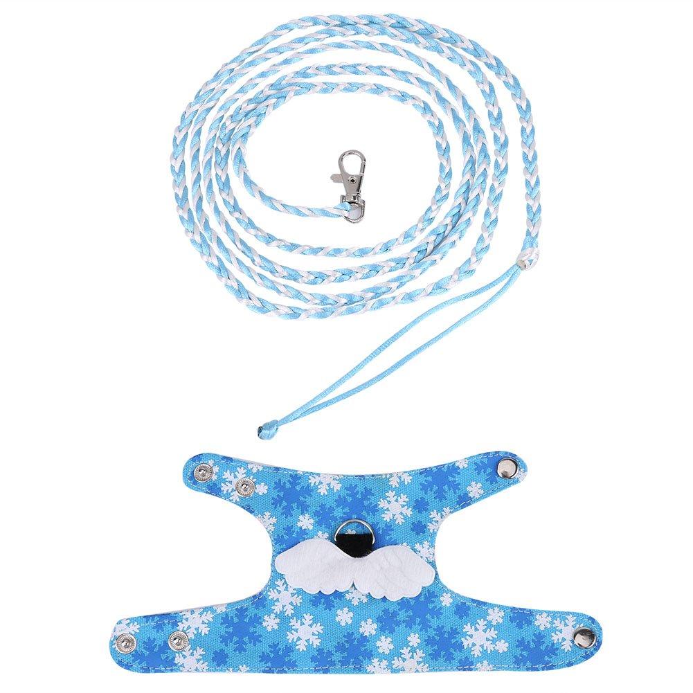 Gilet d'écureuil Hamster Souris harnais vêtements dessin animé avec Laisse de plomb pour Chinchilla écureuil petit animal de marche(Bleu clair) Fdit