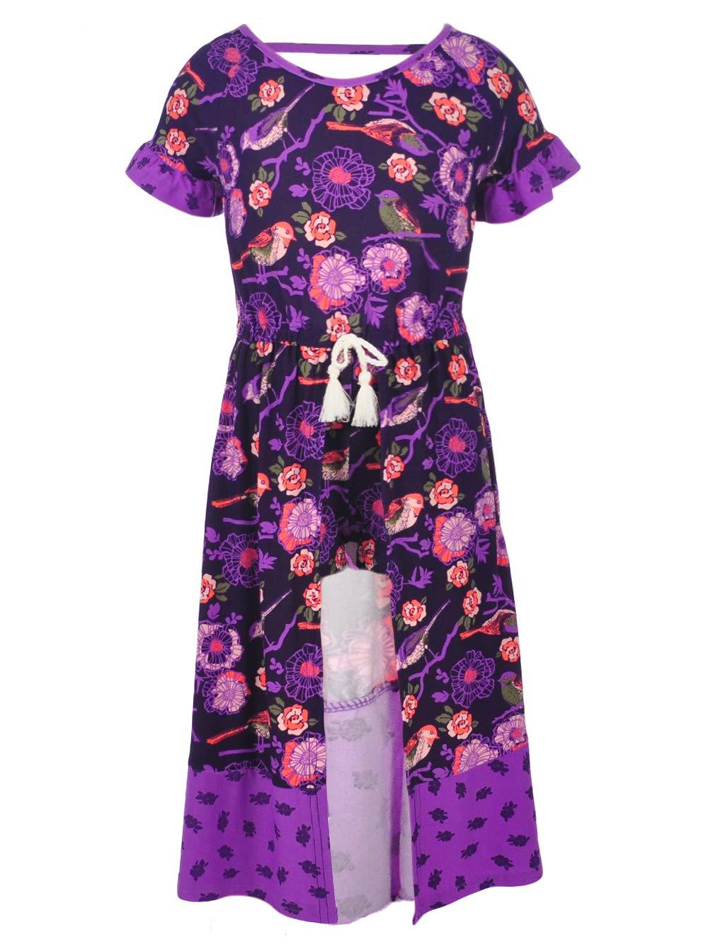 One Step Up Big Girls' Romper Maxi Dress, Plum Floral, 10/12