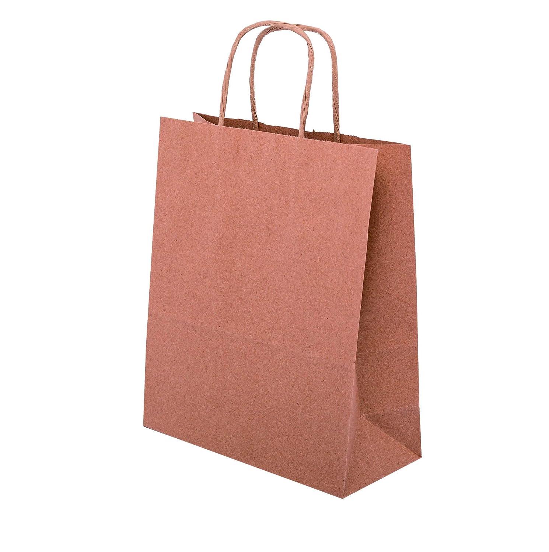 50 Papiertragetaschen mit Kordel, Kordeltragetasche, Mini, 18x8x22,5 Braun - Allbag (250)