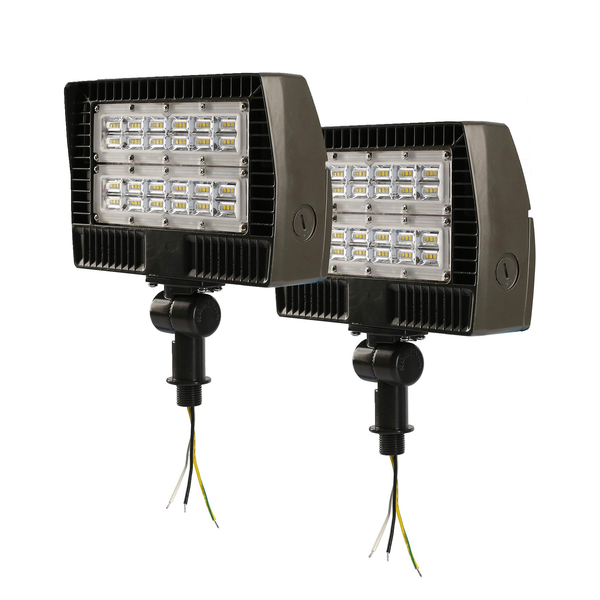 ELECALL LED Flood Light, 50W/5700Lumen, 5000K, Waterproof, IP65, 120-277V, ETL-Listed, 2-Pack