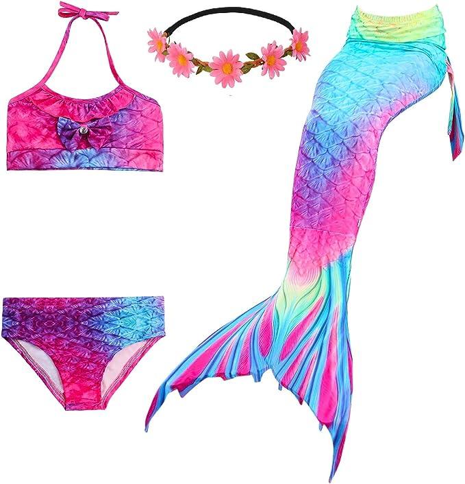 Amazon.com: Fishkidtail 2019 Disfraz de sirena para niñas ...