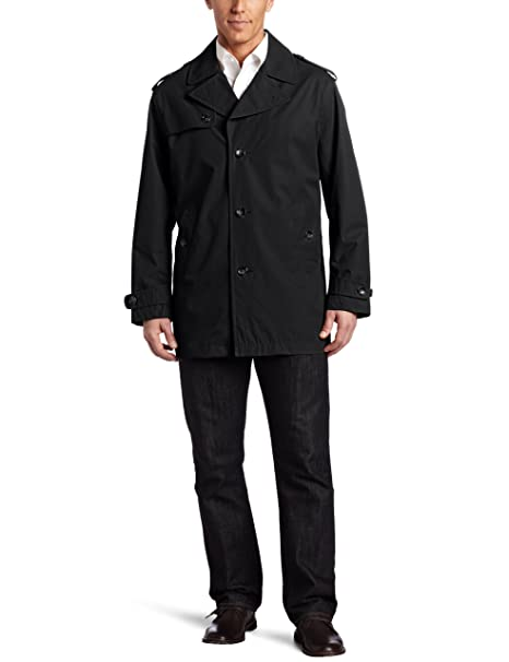 London Fog Men's Madison All Weather Coat, Black, Medium at