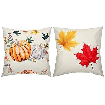 Fall Halloween Thanksgiving Day Truck Pumpkin Pillow Cases Linen Sofa Cozy Decor