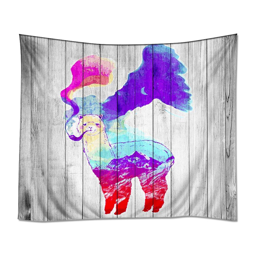 ''HommomH'' Wall Art Home Decor Tapestry 40'' x 60'' Wall Hanging Alpaca Smoking Funny Wood