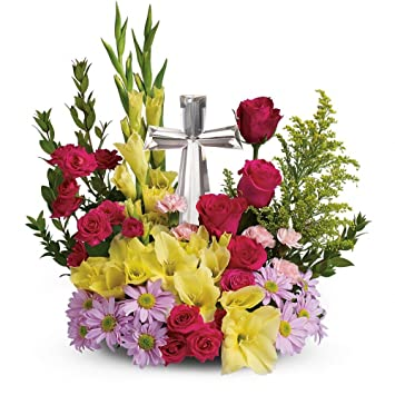 Amazon Telefloras Crystal Cross Bouquet Religious Tributes