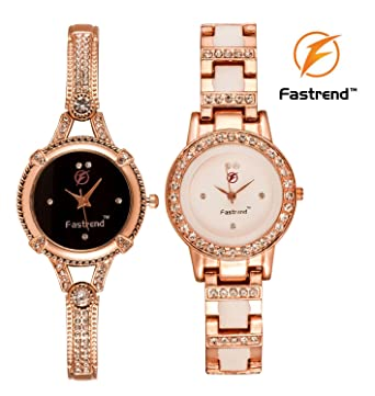 1d58f25650 Fastrend Quartz Ladies Watch Combo - Stainless Steel Analog Watches for  Women - Round and Rose
