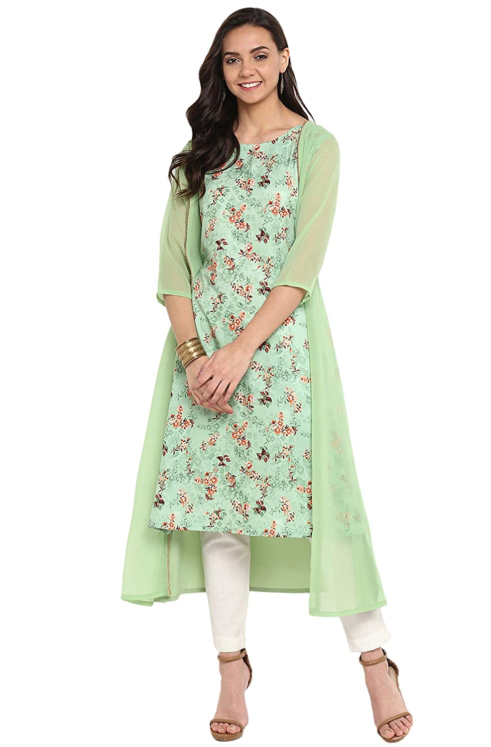 Women's Green Crepe Kurta