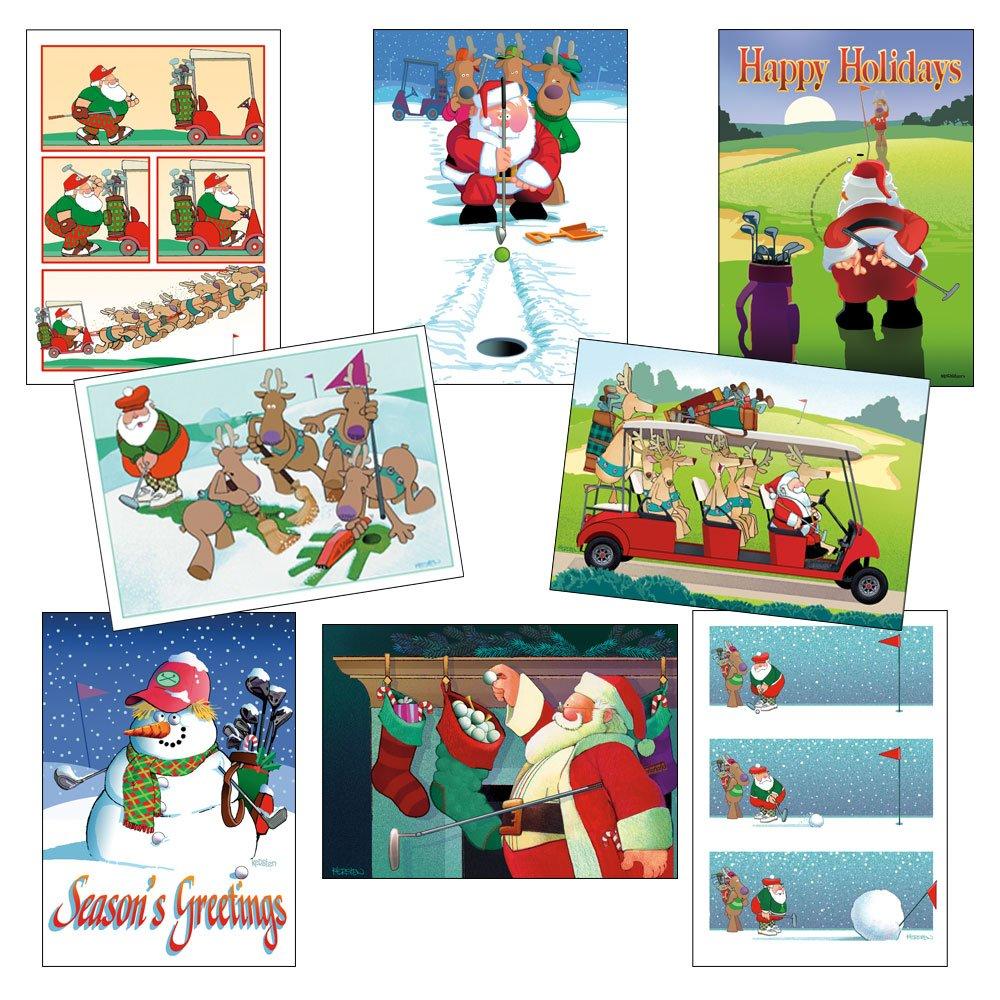 Amazon.com: Box Set of Golf Christmas Card Variety Pack 24 Cards ...