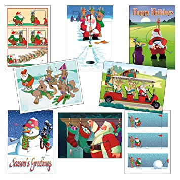 box set of golf christmas card variety pack 24 cards envelopes funny holiday golf