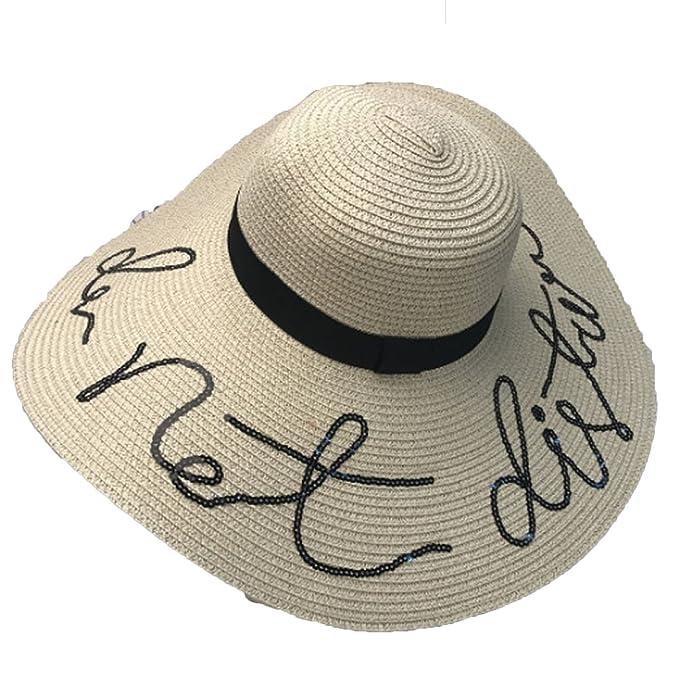8ac4cb9b64b 2018 Letter Sequins Cap Big Brim Ladies Summer Straw Youth Hats for Women  Shade Sun Beach