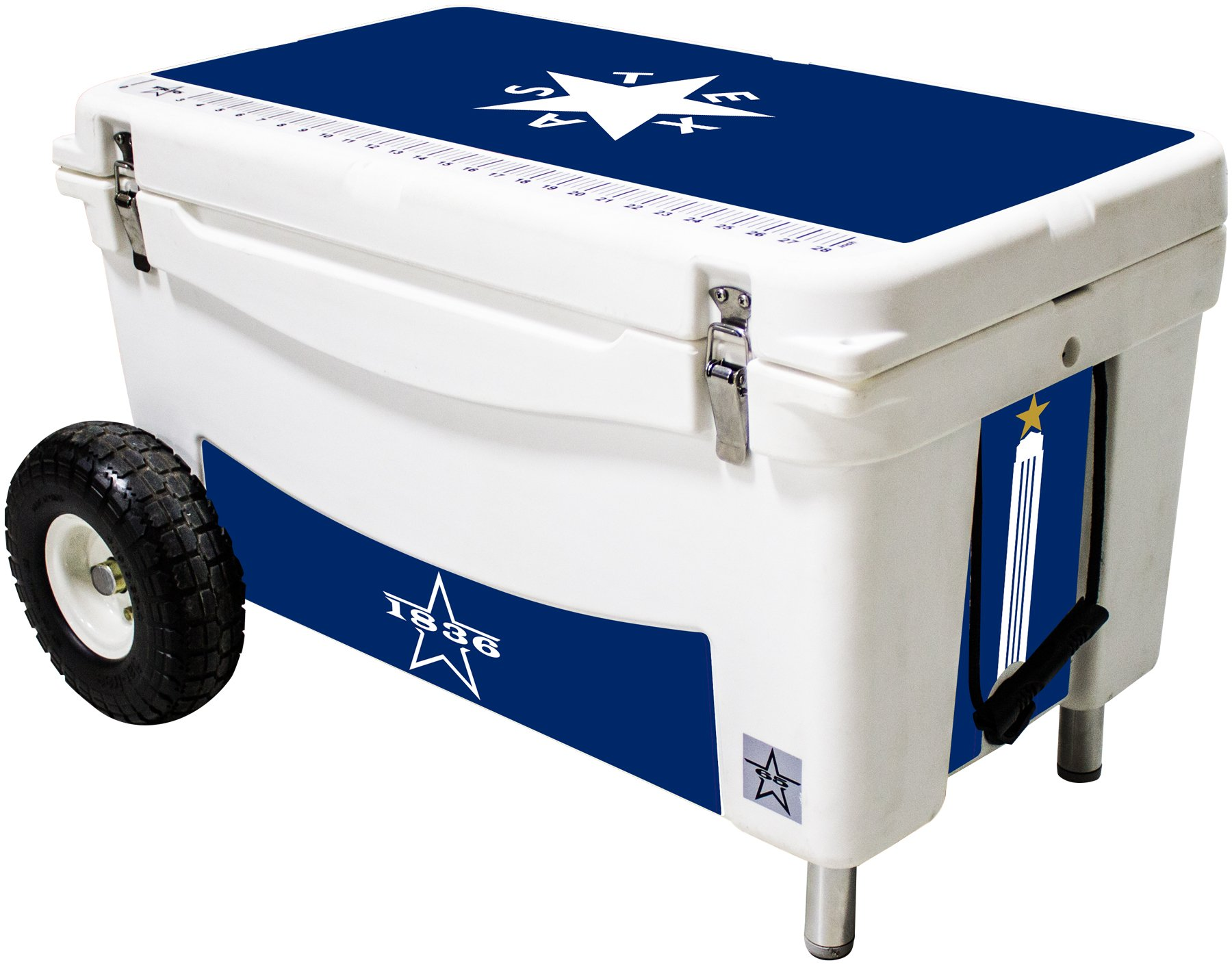 Frio Ice Chests Extreme Wheeled White Hard Side with Blue Texas Star Theme Vinyl Wrap and Built-In Motion Sensitive Light Bar with Bottle Openers, 65 quarts by Frio Ice Chests