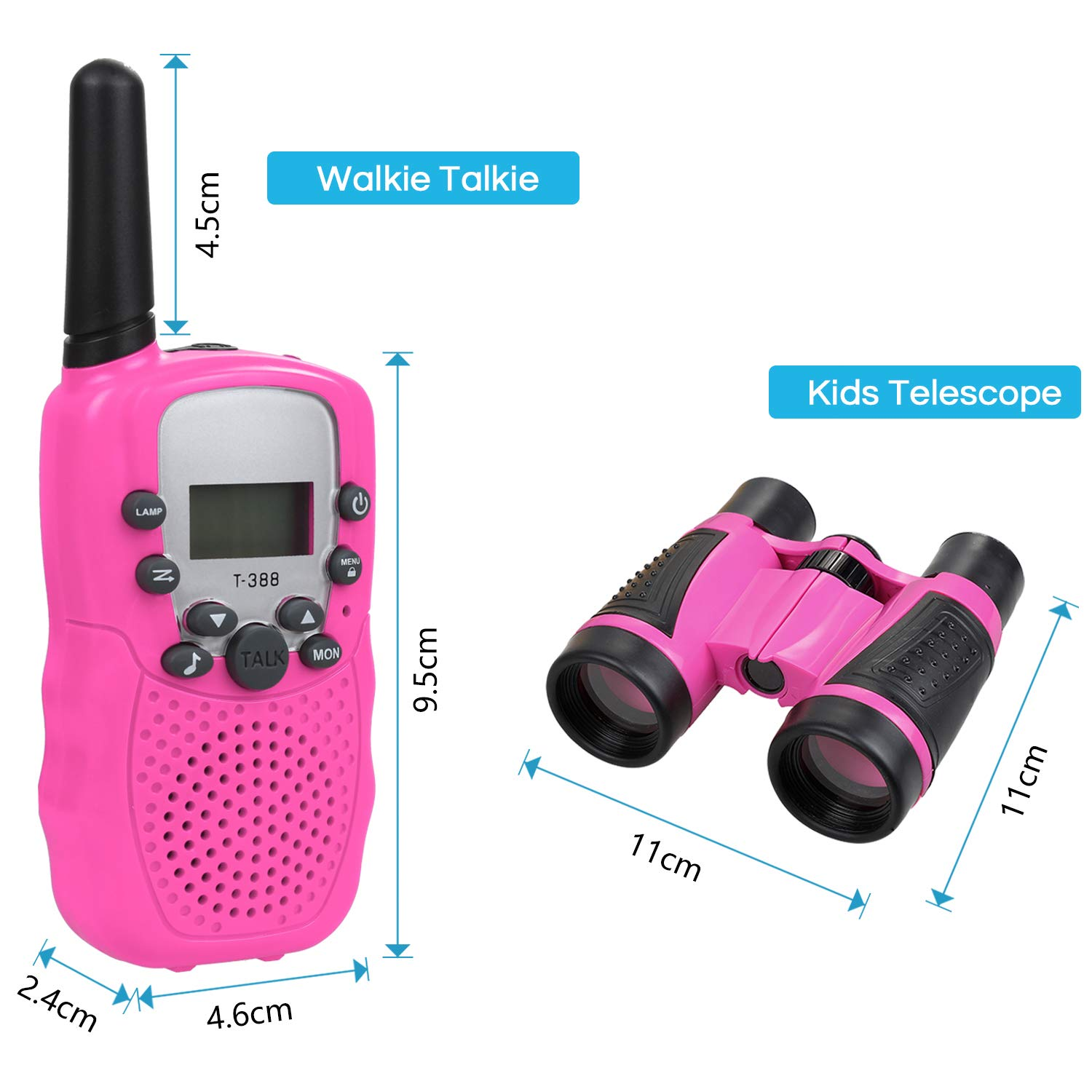 Anpro walkie talkies and Telescope Sets for Kids, 22 Channel 2 Way Radio 3 Mile Long Range Handheld Kids Walkie Talkies, Best Gifts & Top Toys for Boy & Girls for Outdoor Adventure Game(Pink) by Anpro (Image #2)