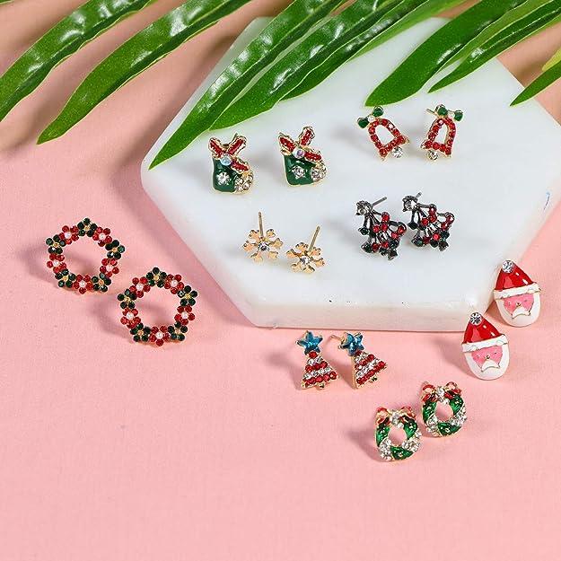 Phoetya 8 Paare Weihnachts Ohrstecker Set Weihnachtsbaum Ohrringe Schneeflocke Ohrringe Schmuck Weihnachtsmann Festliche Ohrringe Dekoration Zubeh/ör f/ür Frauen M/ädchen