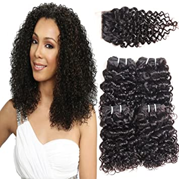 PANEWAY 100% Brazilian Virgin Kinky Curly Human Hair 4 Bundles With Lace  Closure Unprocessed Curly d22ba188e4