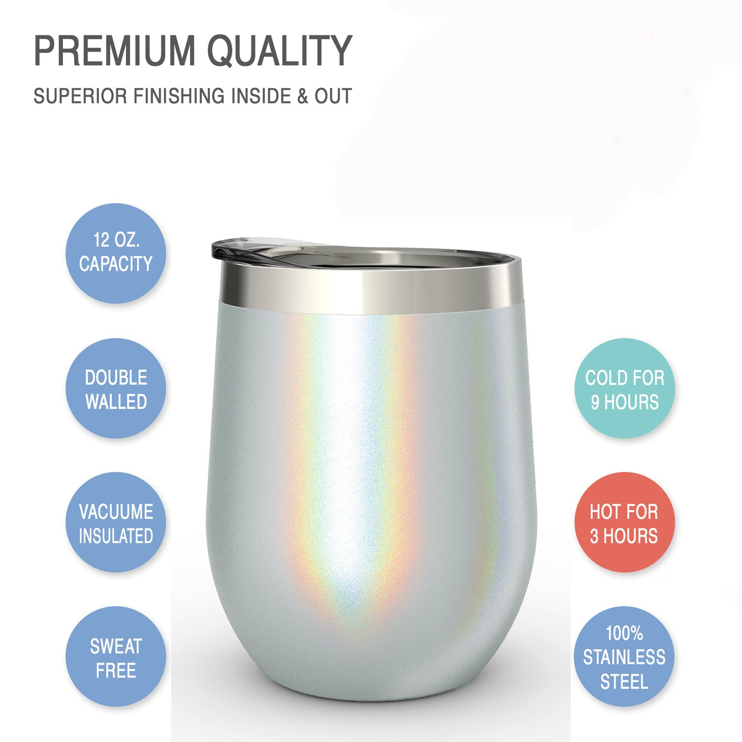 CHILLOUT LIFE Stainless Steel Stemless Wine Glass Tumbler with Lid, 12 oz | Double Wall Vacuum Insulated Travel Tumbler Cup for Coffee, Wine, Cocktails, Ice Cream - Sparkle Holographic Wine Tumbler by CHILLOUT LIFE (Image #3)