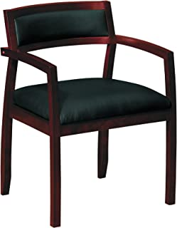 product image for basyx Wood Guest Chairs with Black Leather Seat/Upholstered Back, Mahogany