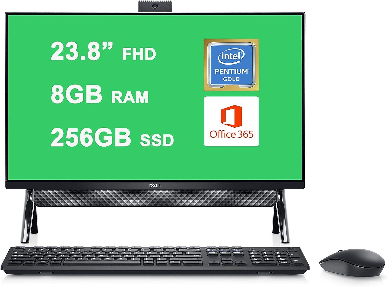 "Dell 2021 Flagship Inspiron 24 5000 5400 All-in-one Desktop Computer 23.8"" FHD Display Intel Pentium Gold 7505 Processor 8GB RAM 256GB SSD Intel UHD Graphics USB-C WIFI6 Win10 Black + HDMI Cable"