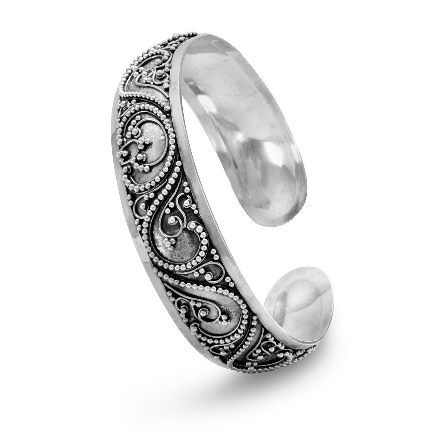 Cuff With Bead Filigree Design 15mm Sterling Silver Beaded Bali Style Cuff Bracelet