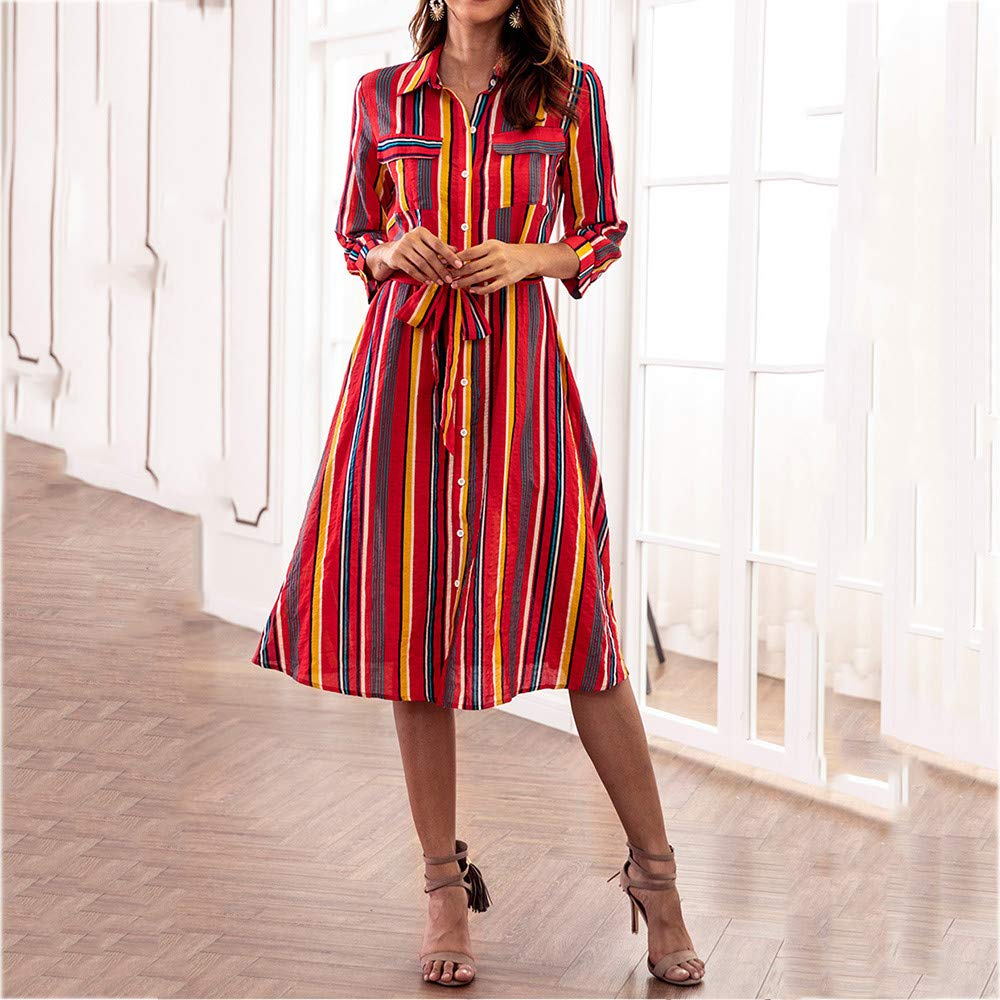2019 Women Long Sleeve Striped Multicolor Loose Button Bohe Beach Dress with Belt YAliDA Boutique Skirt